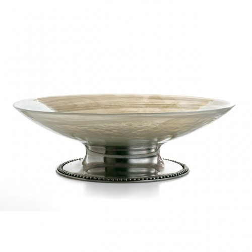 Arte Italica Splendore Large Serving Bowl / Centerpiece Italian Glass and Pewter