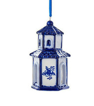 Kurt Adler Hand Painted Porcelain Delft Blue SIX-SIDED House Xmas Ornament - $5.88