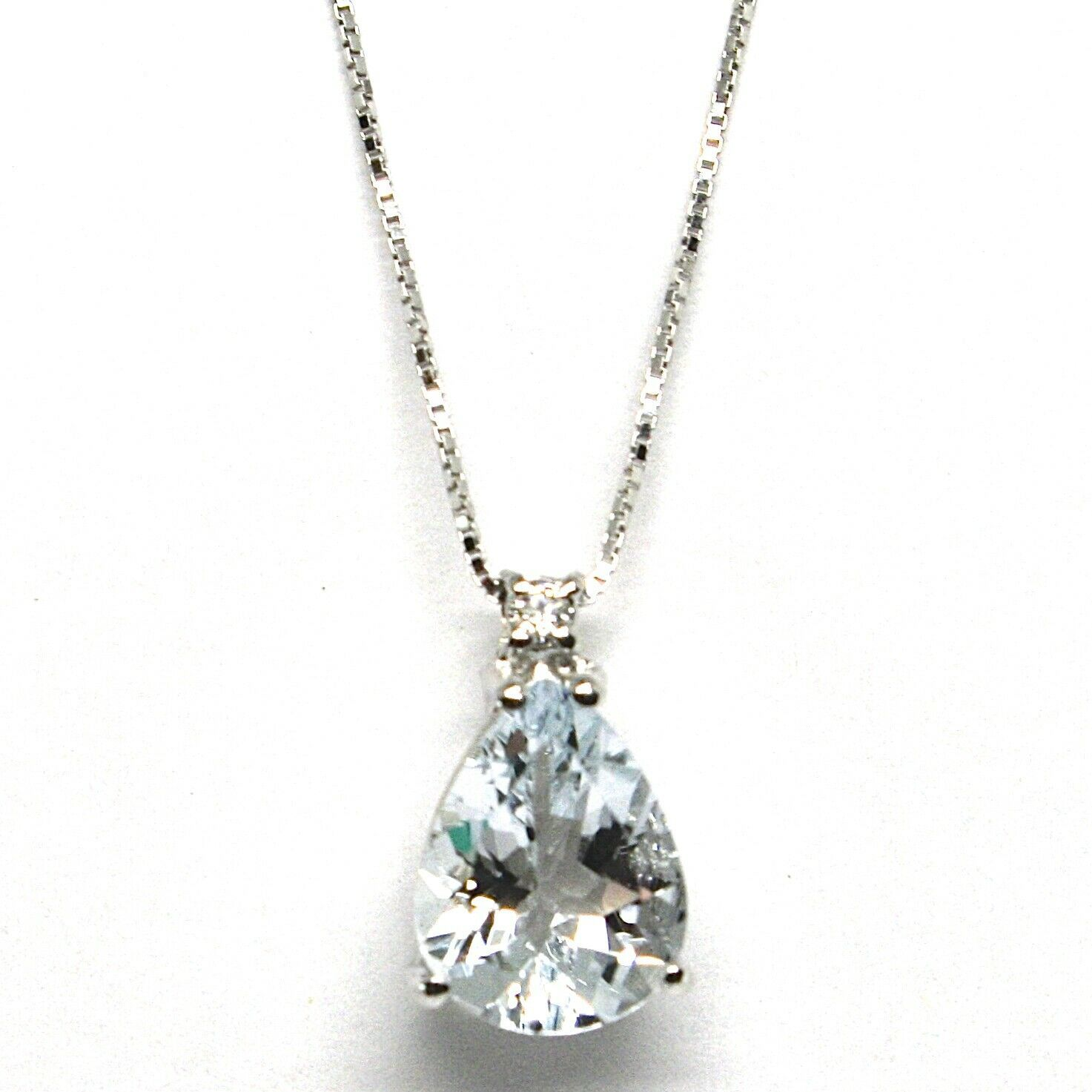 18K WHITE GOLD NECKLACE AQUAMARINE 1.60 DROP CUT & DIAMOND, PENDANT & CHAIN