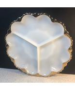 MILK GLASS SNACK DISH OPAQUE GOLD TRIM ART DECO SERVING PLATE BOWL VINTA... - $39.55