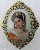 Vtg Hand Painted Victorin Portrait Lady in Pearls Porcelain Cameo Brooch... - $14.99
