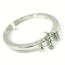 SOLID 18K WHITE GOLD RING, TRILOGY WITH CROSS, DIAMONDS image 2