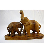 "Elephants Wood Carved Figurine Wild Animals Mother Baby 4"" Tall Brown - $22.99"