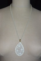 Vintage White Enamel Medallion Filigree Pendant Necklace - $13.86