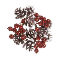 Pinecone And Berry Candle Ring Glitter Brown White And Red 4 Inches - $8.81