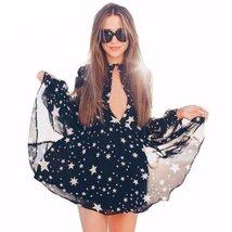 Star Printed Chiffon V-Neck Women Mini Dress - $28.48