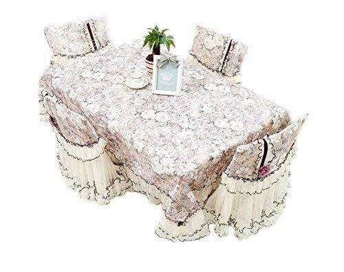 French Romance Camellia Pattern Lace Patchwork Table Linen, 59 By 78 Inches