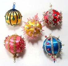 Vintage LOT Silky Thread Handmade Beaded Rhinestone Jeweled Christmas Or... - $26.99