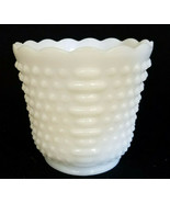 FIRE KING OVEN WARE WHITE  MILK GLASS HOBNAIL VASE/PLANTER - $13.50