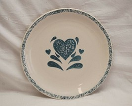 """My Heart by Gibson Designs 10-1/8"""" Dinner Plate Sponged Blue Heart Stoneware - $19.79"""