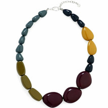 Fashion jewellery colourful chunky acrylic pebble style design choker necklace - $23.07