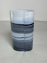 Vintage Kosta Boda B. Vallien Signed Art Glass Vase White Black Stripes ... - $74.24