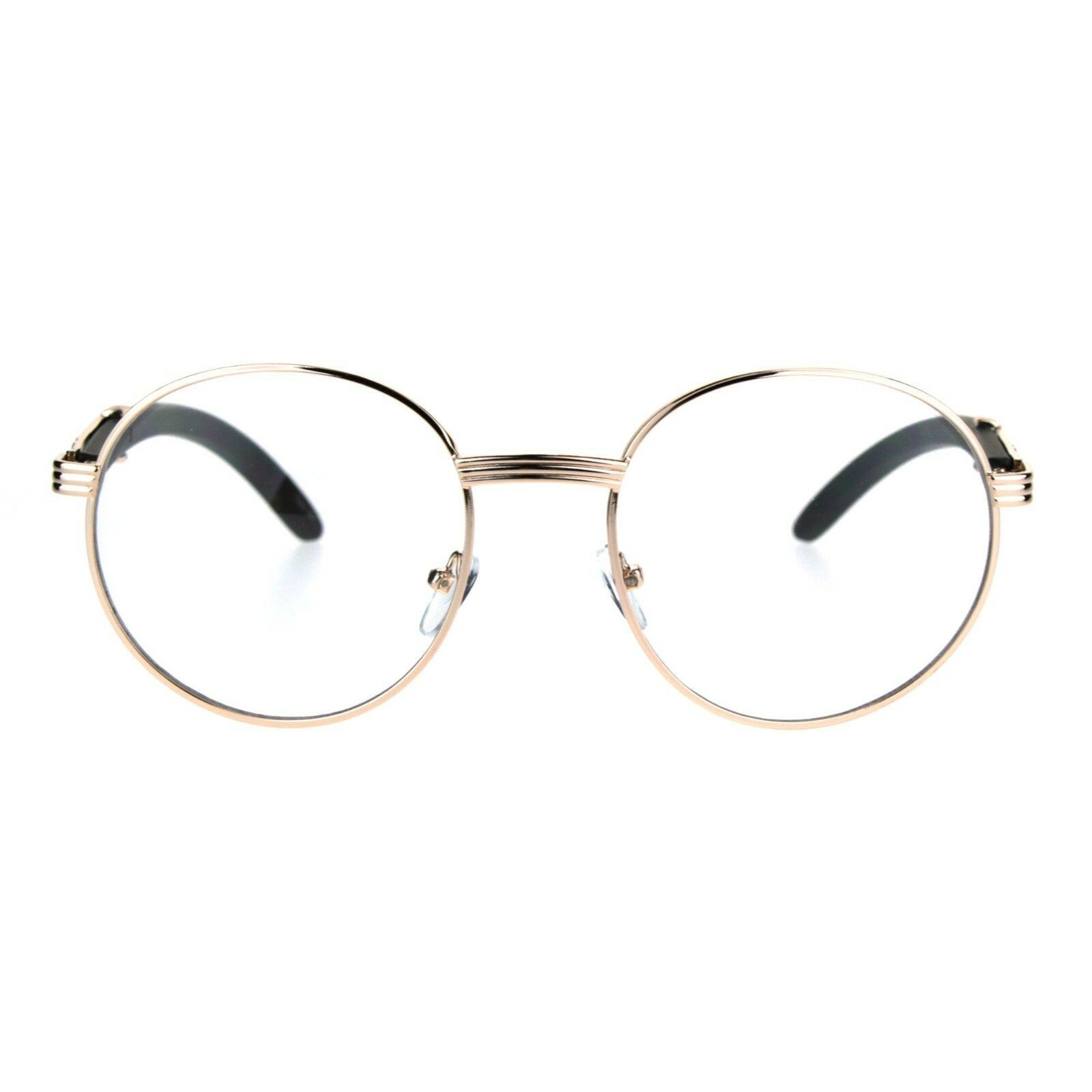 Round Clear Lens Glasses Wood Buffs Stylish Fashion Eyeglasses UV 400