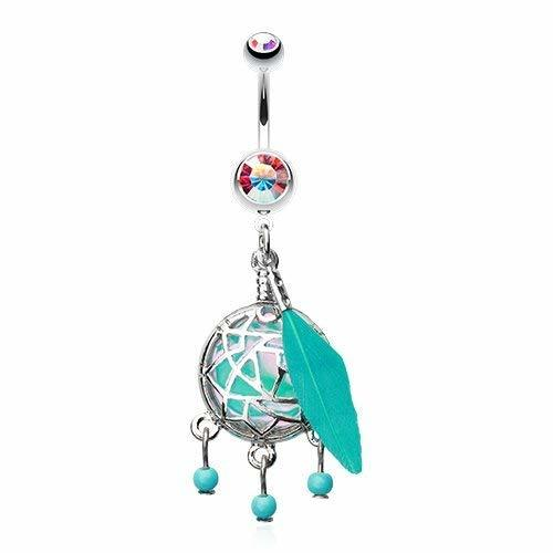 Primary image for Opal Aurora Borealis Sparkle Dreamcatcher 316L Surgical Steel Belly Button Ring