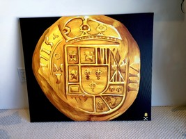 "Print (Not Painting): Mexico 1715 ""Fleet Shipwreck"" 8 Escudos Gold Treasure Coin - $245.00"