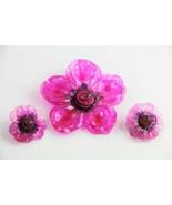 VINTAGE ESTATE MOD HOT PINK CELLULOSE ACETATE PLASTIC FLOWER SET BROOCH ... - $75.00