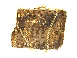VINTAGE 1950s BLACK SEQUIN EVENING BAG W/METAL CHAIN STRAP - $9.99