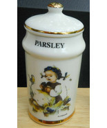 DANBURY MINT M J HUMMEL PARSLEY SPICE JAR PORCELAIN 1987 GOLD TRIM - $9.25