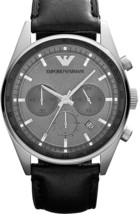 Emporio Armani Classic Black Leather Strap Chronograph Watch AR5994 $295 BNWT - $146.75