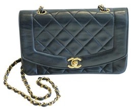 Chanel Lambskin Diana Single Flap Bag Quilted Gold Tone - $2,920.50
