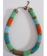 VINTAGE SPIRAL BEAD BEADED CHOKER NECKLACE BRASS ENDS - $49.99