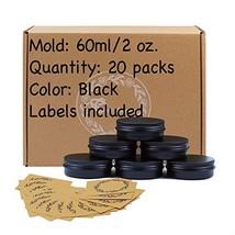 20pcs 2oz/60ml Black Aluminum Tin Jar with Screw Lid and Blank Labels