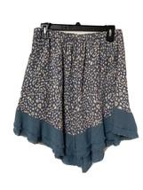 Umgee Women's Dusty Blue Elastic Waist Asymmetrical Fringed Skirt Sz M Boho - $17.99