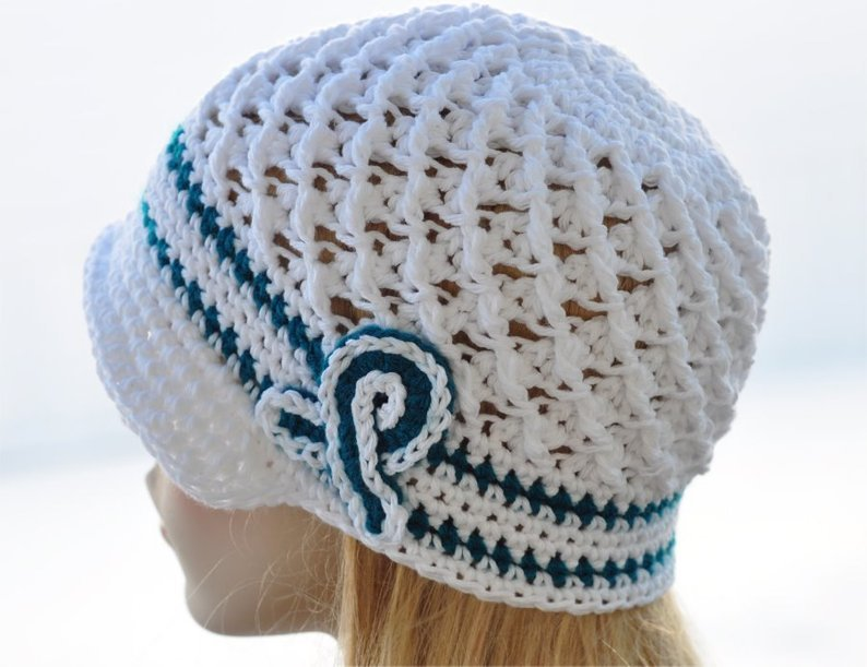 Ovarian Cancer Awareness Crochet Hat - Teal - White Chemo Cap, Ovarian Cancer