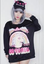 Kawaii Clothing Ropa Cute Pony Unicorn Go To Hell Sweatshirt Rainbow Har... - $23.50