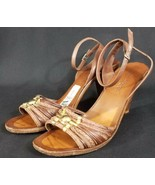 Sesto Meucci Women's Size 8M Shoes Brown Sandals 3 inch Heels Ankle Strap - $32.37