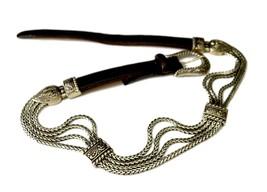 Brighton Bali Silver Flat Link Triple Chain Heart Belt Brown Calf Skin S... - £21.36 GBP