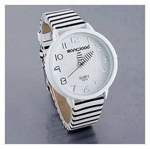 Women's Watch Color Stripes Strap Round Case Casual WristWatch Watches AH4