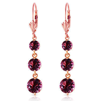 Primary image for 7.2 Carat 14K Solid Rose Gold Amethyst Leverback Earrings