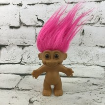 Vintage Russ Berrie Troll Doll Nude Figure Pink Hair Collectible Toy Flaw - $11.88