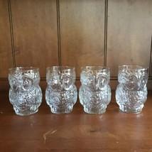 Vtg 3-D Owl Shaped Clear Drinking Glasses/Glassware~Set of 4 Molded Tumbler - $36.62