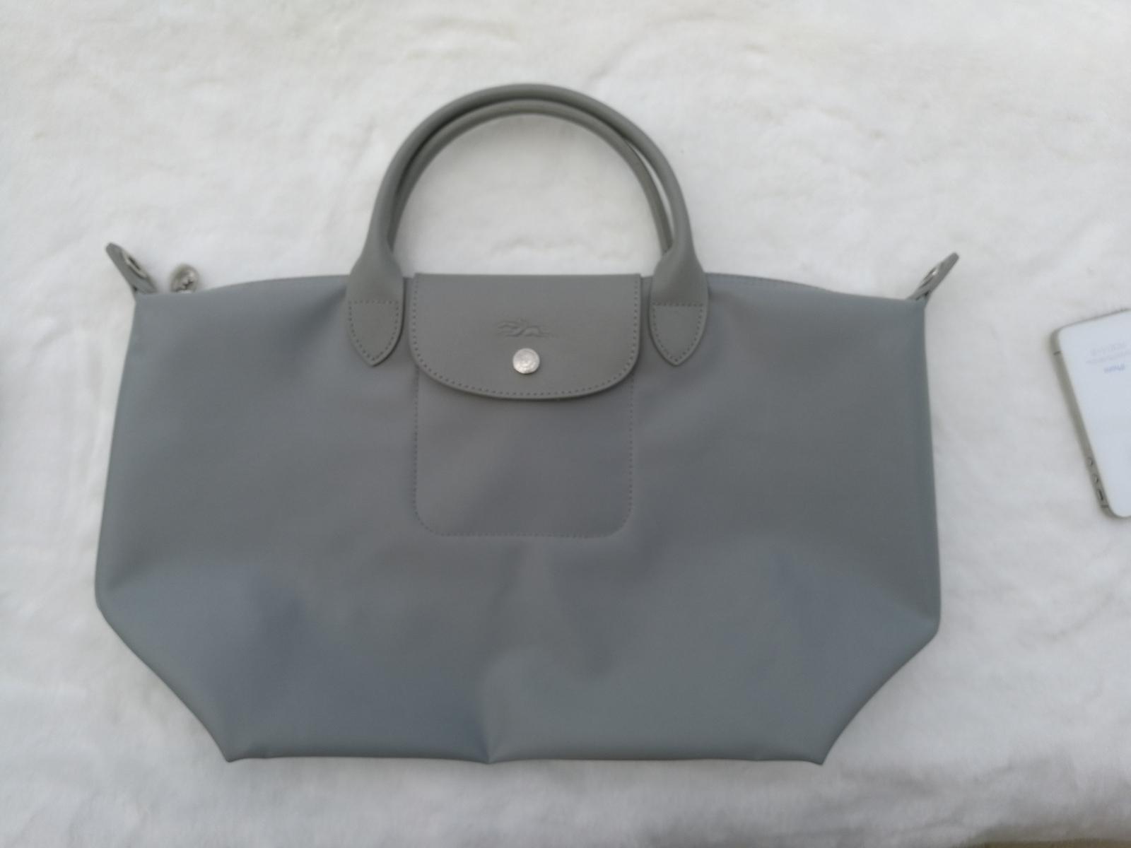 Longchamp Le Pliage Large Gray Handbag Neo Shoulder Strap Pebble Gale 1515578274