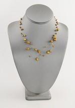 """VINTAGE ESTATE Jewelry 17"""" FLOATING PEARL ADJUSTABLE NECKLACE GOLDEN COPPER - $10.00"""