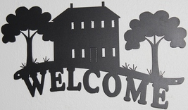 House with Trees Welcome sign Metal Wall Art Home Decor Flat Black - $40.00
