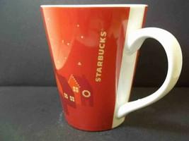 Starbucks tapered china coffee mug RED Holiday Houses 2013 12 oz Christmas - $9.70