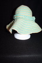 Cynthia Rowley one size Hat Floppy packable Beach Sun Style Green tan st... - $49.91 CAD