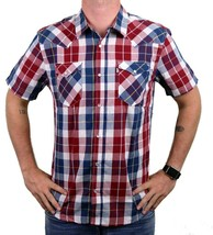 NEW LEVI'S MEN'S CLASSIC COTTON CASUAL BUTTON UP PLAID RED & NAVY 3LYSW0752
