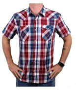NEW LEVI'S MEN'S CLASSIC COTTON CASUAL BUTTON UP PLAID RED & NAVY 3LYSW0752 - $28.45