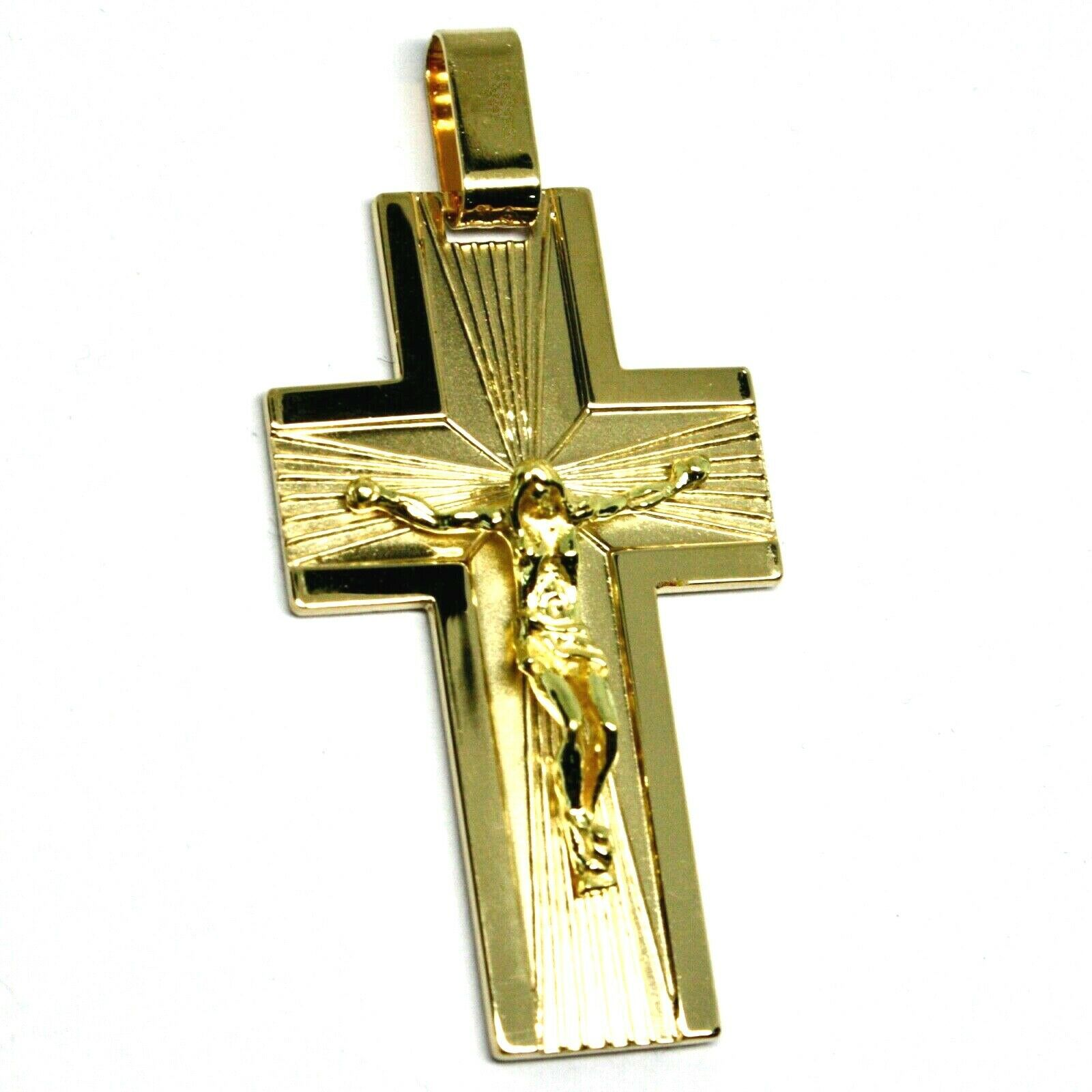 SOLID 18K YELLOW GOLD BIG 42mm FLAT CROSS, WORKED SATIN & SMOOTH WITH JESUS