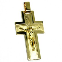 SOLID 18K YELLOW GOLD BIG 42mm FLAT CROSS, WORKED SATIN & SMOOTH WITH JESUS image 1