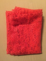 """Vintage 70s Red Polyester """"lace"""" rectangular table cloth/festive overlay image 5"""