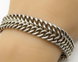 925 Sterling Silver - Vintage Double Chain Link Detail  Bracelet - B2944 - $225.11