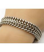 925 Sterling Silver - Vintage Double Chain Link Detail  Bracelet - B2944 - $225.11