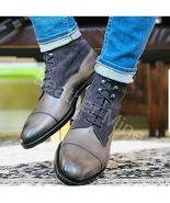 Men's Handmade Gray Leather Patina Dress Boots Custom Made Formal Boots - $169.99+