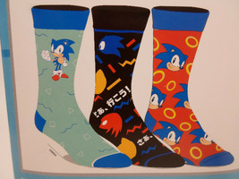 Sonic the Hedgehog Crew Socks 3 Pair Pack Men's Shoe Size 8 to 12 - $11.49