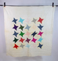 Vintage White & Multi Color Stars Patchwork Throw Blanket Quilt Cover 50... - $69.29